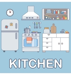 Kitchen with furniture flat style vector