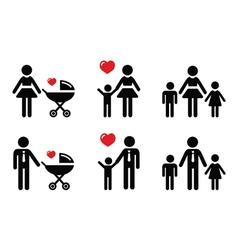 Single parent sign - family icons vector