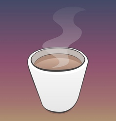 Pretty cup of coffee with steam and outlines vector