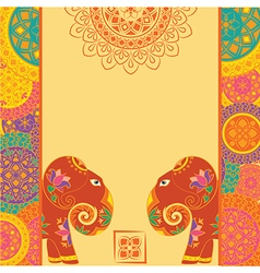Indian elephant and frame with mandalas vector