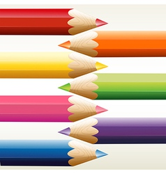 Seven colorful pointed pencils vector