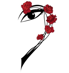 Roses and eye vector