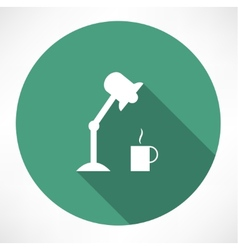 Table lamp and coffee icon vector
