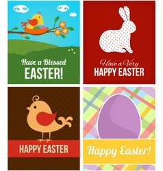 Easter cards with eggs rabbit and bird vector