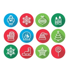 Christmas flat design icons - xmas tree angel vector