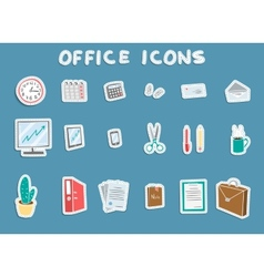 Business office sticker icons set vector
