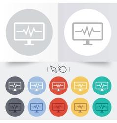 Cardiogram monitoring sign icon heart beats vector