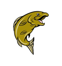 Cartoon trout fish jumping side vector