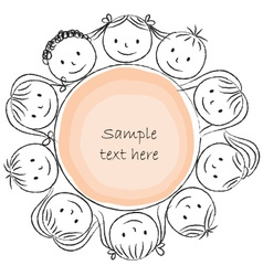 Kids faces on circle chalky vector
