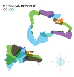 Abstract color map of dominican republic vector