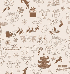 Seamless christmas pattern hand drawing sketch vector