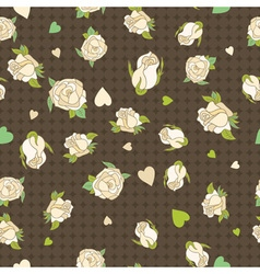 Seamless patern with beige roses on a brown vector