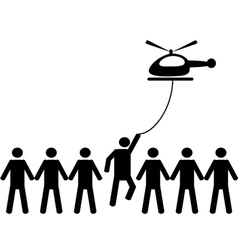 A person is picked by helicopter vector