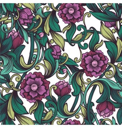 Pattern with the drawn peony vector
