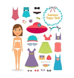 Summer paper doll girl with dress and hat vector
