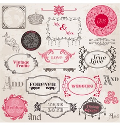 Wedding vintage frames and design elements vector