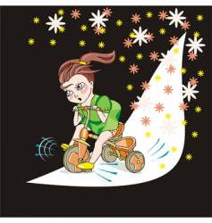 Child and bicycle vector