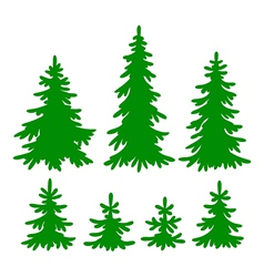 Set of fir-trees silhouettes vector