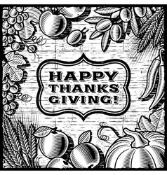 Thanksgiving retro card black and white vector