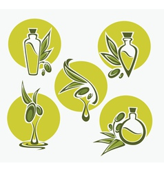 Olive oil round icons vector
