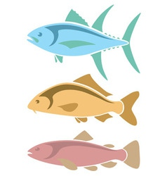 Icons tuna carp and trout vector