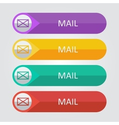 Flat buttons mail vector