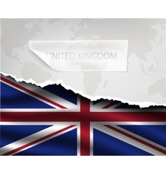 Paper with hole and shadows united kingdom flag vector