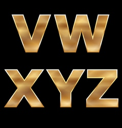 Gold letters set v-z vector