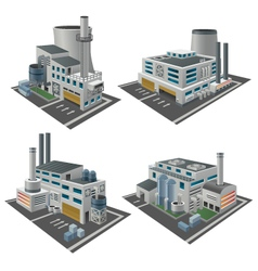 Set of perspective factories vector
