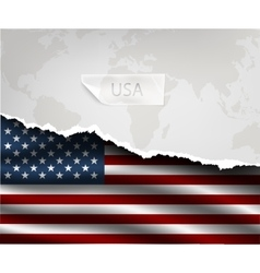Paper with hole and shadows usa flag vector