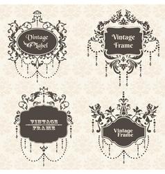 Set vintage frame collection with flower elements vector