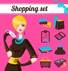 Shopping set infographics of fashion women vector