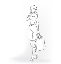 Woman with shopping bag in full length vector