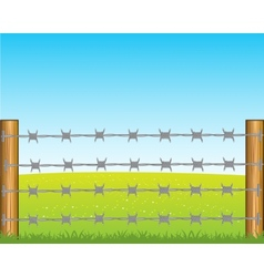 Poles with barbed wire vector