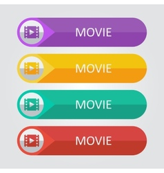 Flat buttons movie vector