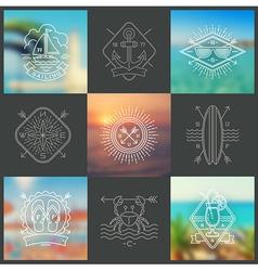Summer holidays vacation and travel emblems vector
