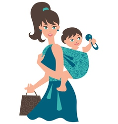 Active mother with baby in a sling vector