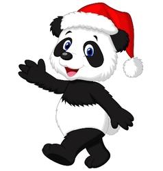 Cute panda cartoon wearing red hat waving hand vector