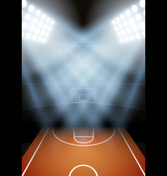 Background for posters night basketball stadium in vector