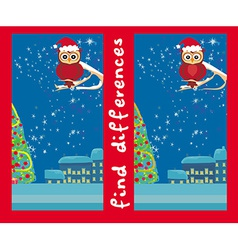 Winter card with cute owl find the differences vector