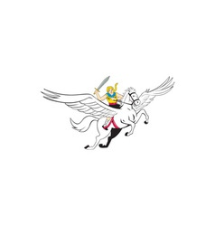Valkyrie amazon warrior flying horse cartoon vector