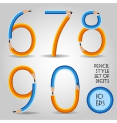 Digit set in wooden pencil style vector