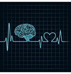 Medical technology concept heartbeat make a brain vector