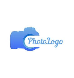 Logo of photo camera in blue color vector