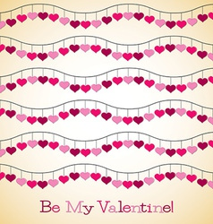 Wavy hearts valentines day card in format vector