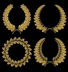 Set from gold oak wreath vector