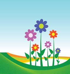 Flower on blue background vector