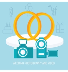 Flat wedding video and photo shoot background vector