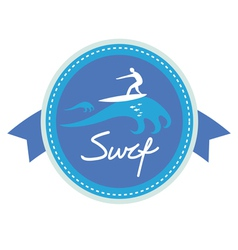 Surf ing emblem design vector