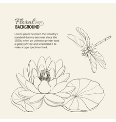 Water lily and dragonfly vector